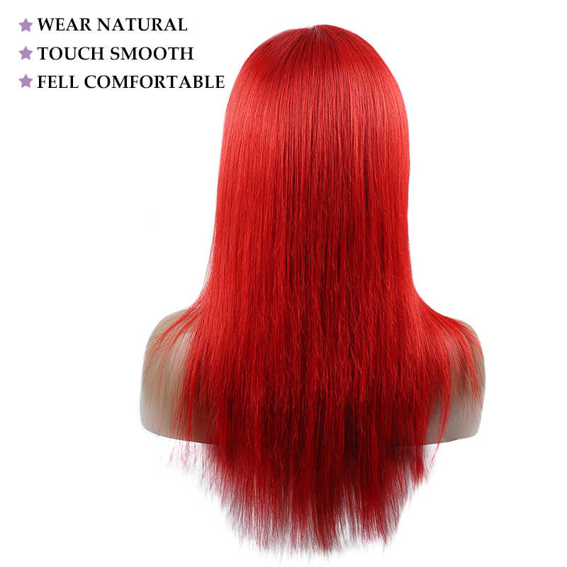 4*4 Lace Closure Wigs Red Straight Hair Lace Front Wig 99J Burgundy Lace Human Hair Wigs Pre Plucked Peruvian Non Remy Hair Wigs
