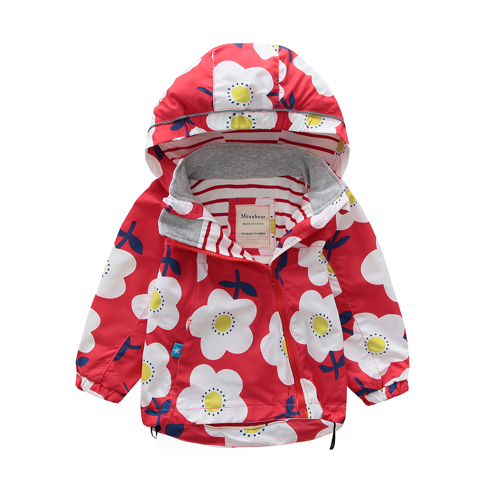 M105 Spring Autumn Fashion Boys Coat Hoodie Child Jacket Girls Tops Windbreaker Flower Print Thin Coat Summer Child Thin Jacket letter print raglan hoodie