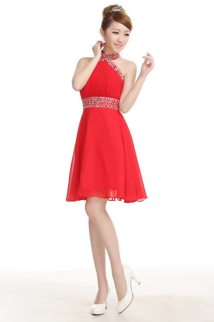 Free Shipping Red Halter Sequin Bridesmaid Dresses Short Bride ...