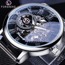 Forsining Fashion Men Mechanical Watch Skeleton Slim Roman Dial Mesh Stainless Steel Strap Wristwatch Business Male Watches Gift fashion stylish top luxury brand forsining skeleton watches men stainless steel mesh strap band mechanical watch thin dial clock