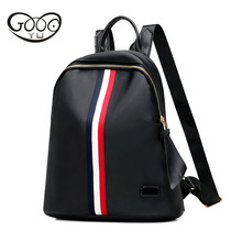 GOOG. Ю. ткань Оксфорд ноутбук рюкзак женщины Лента украшение водонепроницаемые сумки повседневная мода вертикальный разрез рюкзаки