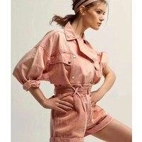 Cosmicchic Women Denim Set Double Breasted Long Sleeve Pink Jacket High Waist Short With Belt 2019 Autumn Runway Suit
