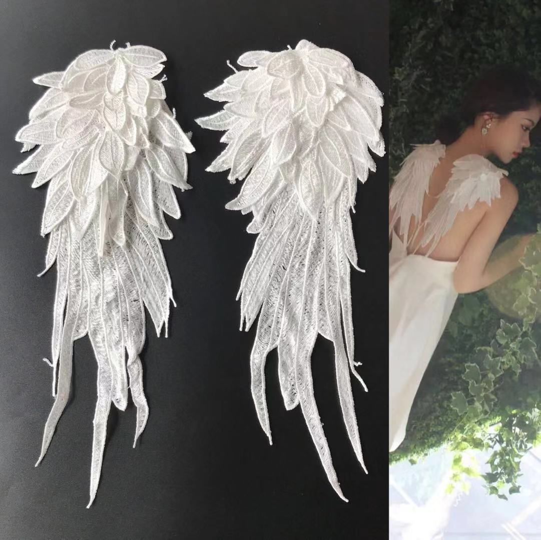 Angel's Wing Black And White Wing Cloth Sticking Three-dimensional Embroidery Lace Clothes, Pants, Down And Vest Painted Patches