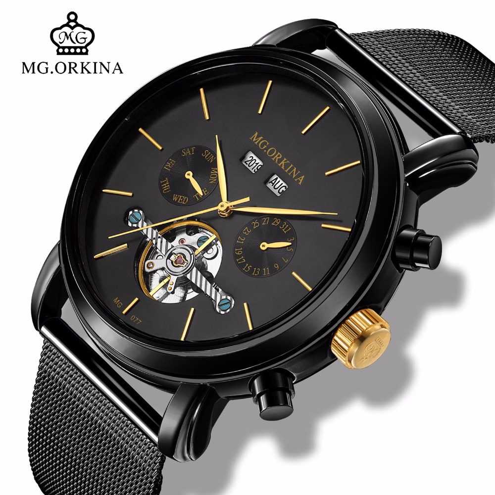 Business Metal Automatic Tourbillon Watches Men Complete Calendar Mechanical Wrist Watch Mg orkina Self Wind Transparent