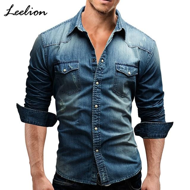 645c3a8cd IceLion 2019 Spring Denim Shirt Men Long Sleeves Slim Fit Double Pocket  Cotton Dress Shirts Casual