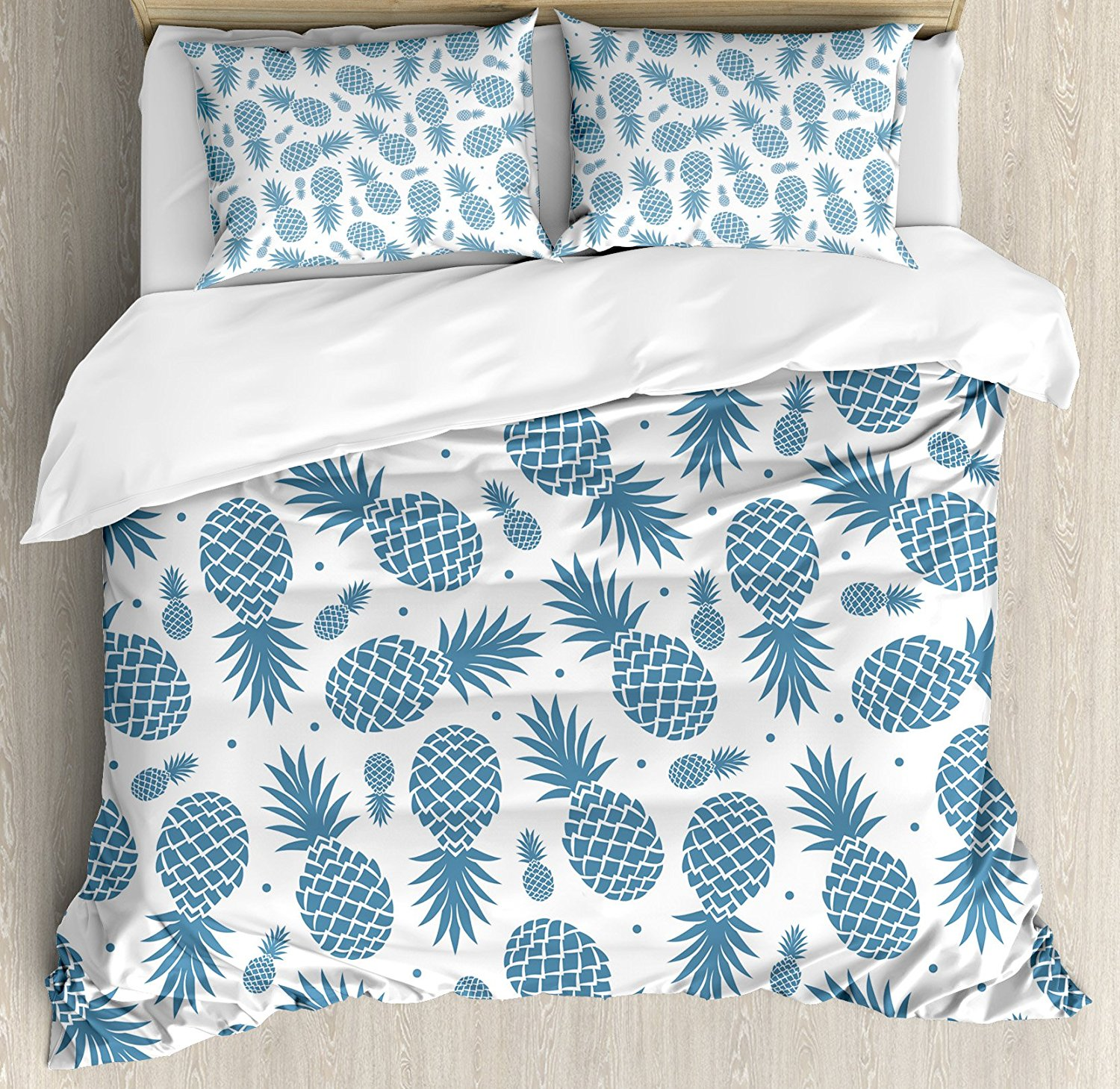 Pineapple Duvet Cover Set Island Themed Minimalistic Multi-Sized Tropic Fruity Pineapple Printed Vintage Blue White