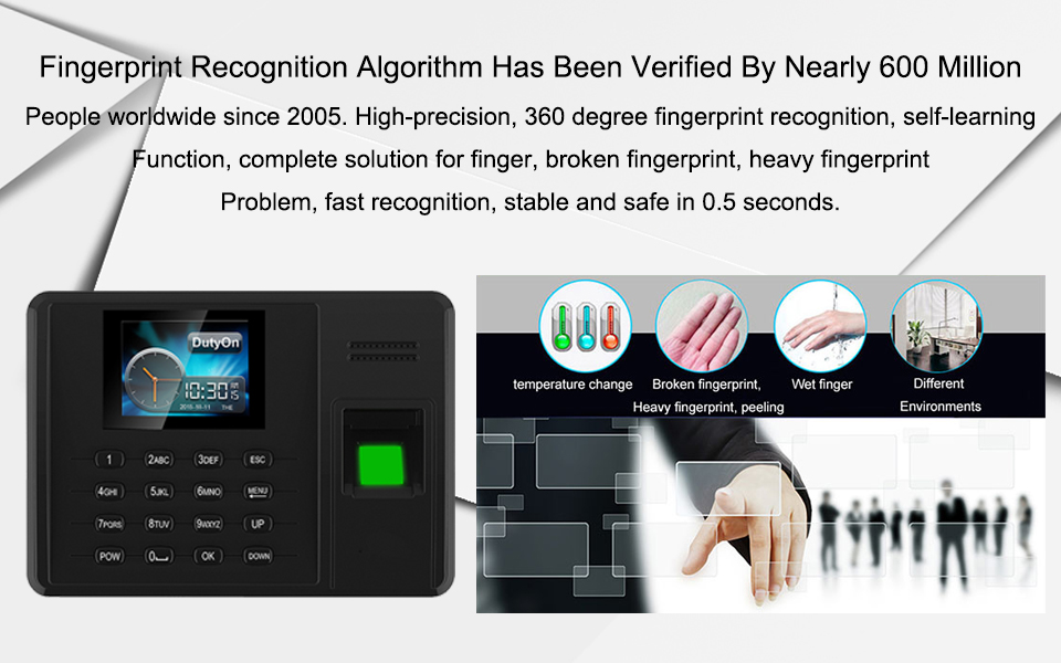 OULET Biometric Attendance System Fingerprint TCPIP USB Time Clock Employee  Reader Machine Electronic Device Attendance System