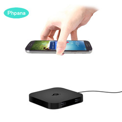 Inductive Travel Qi Wireless Charger Pad Slim Portable Draadloos Opladen 2 Usb Charger Universal Charger Without Wired Charging