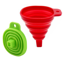 Funnel Collapsible Set of 2, Foldable for Liquid Transfer 100% Food Grade Silicone (Red & Green)