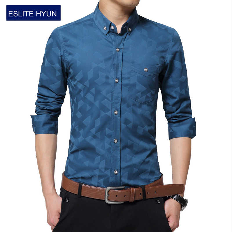 88c28a8ec205 ... 2018 New Oxford Fashion Dress Men Shirt Slim Fit Long Sleeve Male  Social Casual Shirts Camisa ...