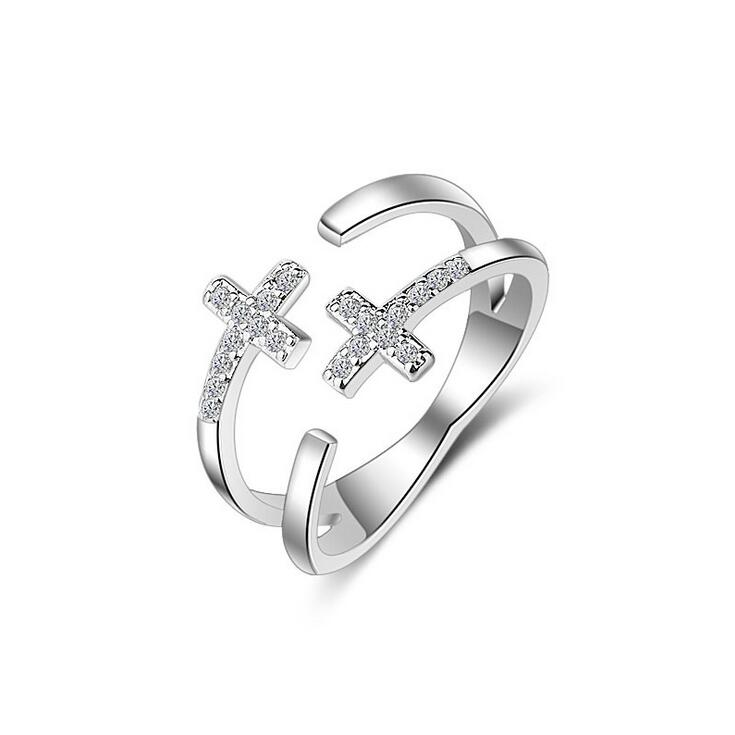 2017 new arrival hot sell fashion shiny zircon double cross 925 sterling silver ladies`anniversary finger rings women gift