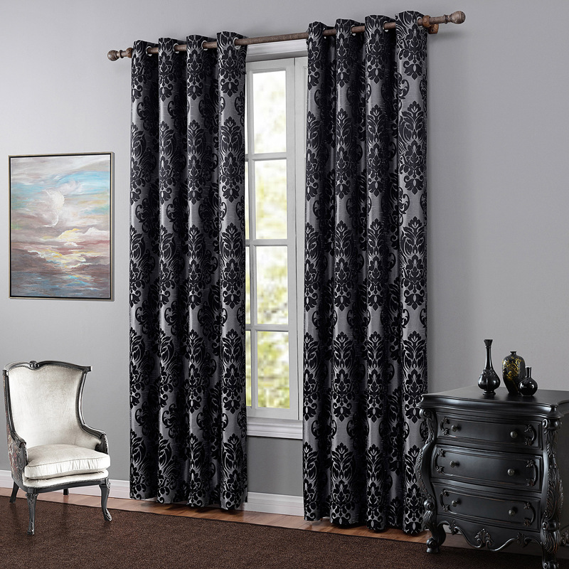 Curtain finished jacquard curtains bedroom living room black ...