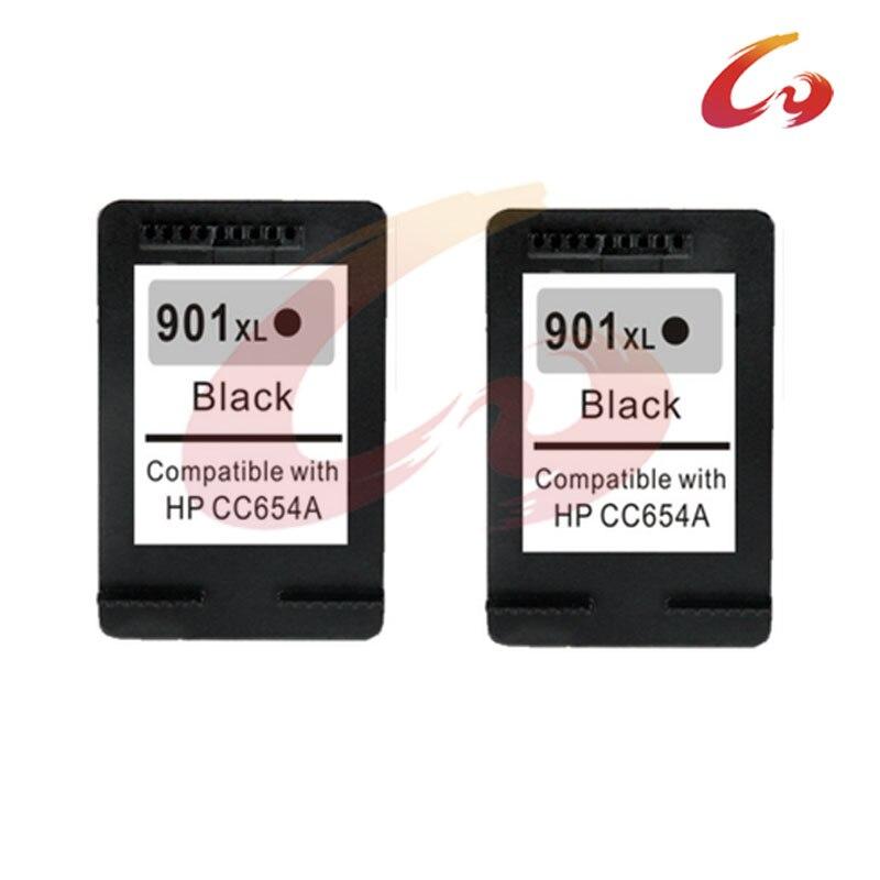 2 pcs black CC654A For HP 901 Ink Cartridge 901XL For HP OfficeJet 4500 J4580 J4550