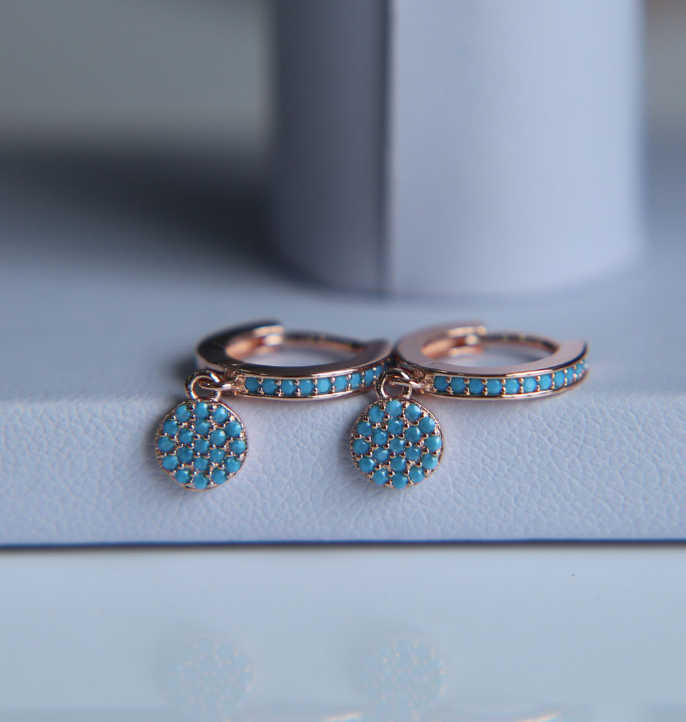 gold rose gold silver colors micro pave cz evil eye dots circle clip on earrings Turquoises CZ earring for girl women