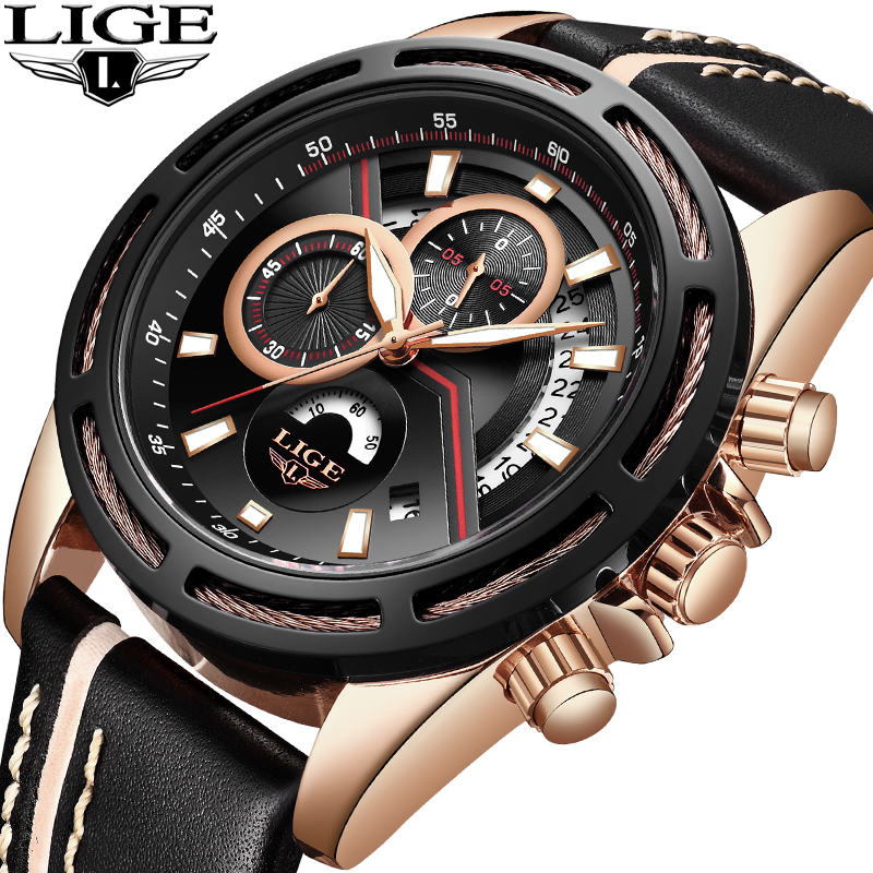 LIGE Men Watches Top Brand Luxury Sport Chronograph Business Quartz Watch Men Military Waterproof Wrist Watch Relogio MasculinoLIGE Men Watches Top Brand Luxury Sport Chronograph Business Quartz Watch Men Military Waterproof Wrist Watch Relogio Masculino