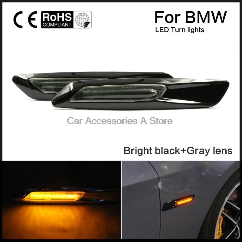 A Pair Side Marker Light Black Trim LED Fender Turn Signal Lamp Fit for BMW E60 E82 E87 E88 E90 E91 E92 E93