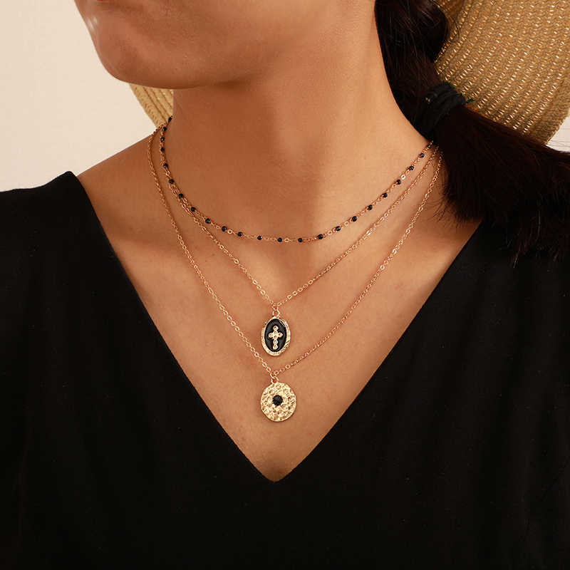 Tocona Multi-layer Retro Cross Geometric Pendant Beaded Necklace for Women Gold Color Chain Choker Jewelry Accessories B25105