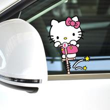 car-styling Funny Hello Kitty Car Accessories Bouncing Motion Sticker Side Door Decals For VW Golf7 Polo Smart Fortwo Mazda 3(China)