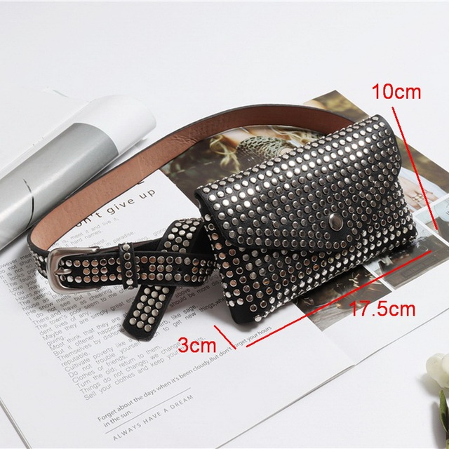 DIINOVIVO Fashion Rivets Waist Pack Luxury Designer Fanny Pack Small Women Waist Bag Phone Pouch Punk Belt Bag Purse WHDV0632