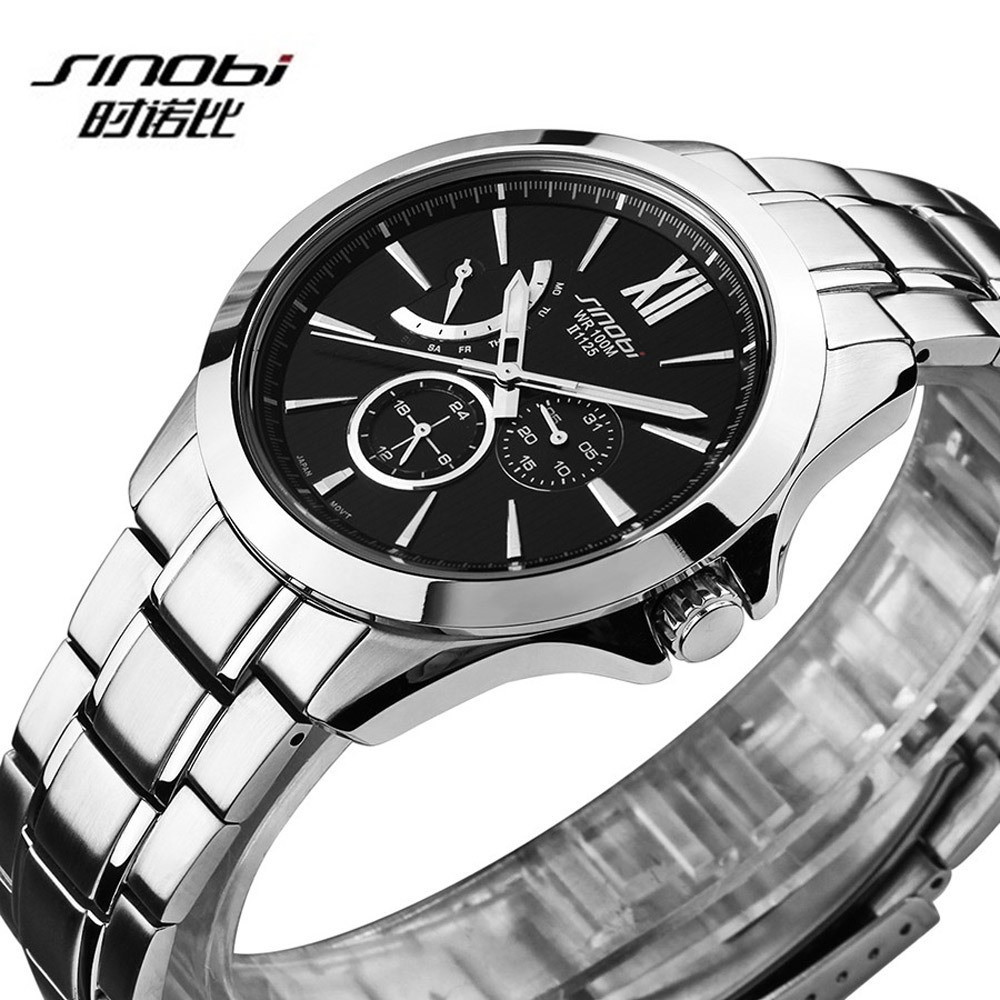 SINOBI Watch Men Watch Mens Watches Top Brand Luxury Waterproof Full Steel Men's Watch Clock relogio masculino erkek kol saati lige mens watches top brand luxury man fashion business quartz watch men sport full steel waterproof clock erkek kol saati box