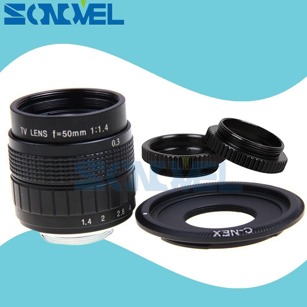 50mm F1.4 CCTV TV Film lentille + C Mont + Macro ring pour Sony E montage Nex-5T Nex-3N Nex-6 Nex-7 Nex-5R A6300 A6100 A6000 A6500 A5000