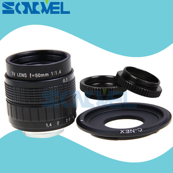 50mm F1.4 CCTV TV Movie lens + C Mount + Macro ring per Sony E montaggio T Nex-3n Nex Nex-5r Nex A6300 A6100 A6000 A6500 A5000