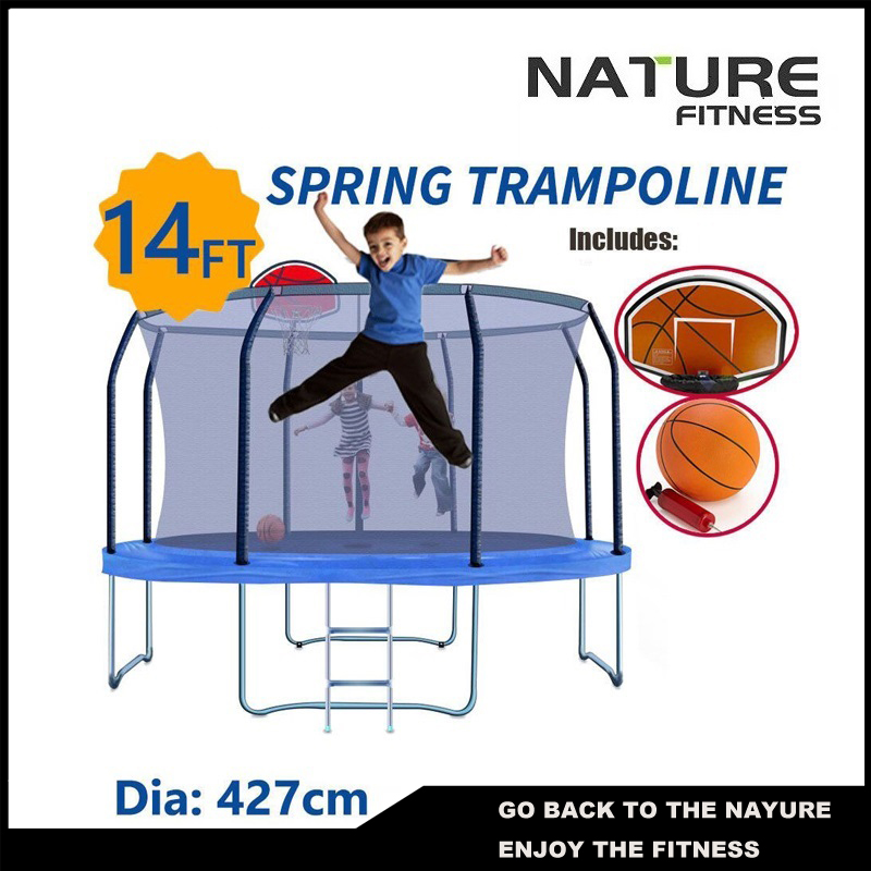 14ft Round Safety Net Spring Pad Ladder Optional Basketball Set Trampoline For Kids maritime safety