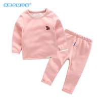 winter new arrive baby boys girls underwear suit cartoon thickened long johns baby cotton sweater BM95