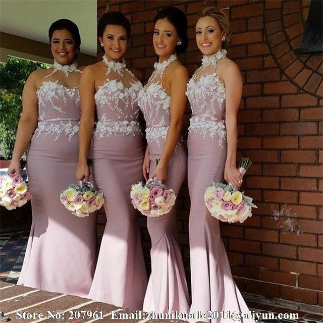 1e6bbbaaa93 Cheap Long Bridesmaid Dresses with Appliques sash Mermaid Sexy Vestido De  Festa atin Formal Dress for wedding