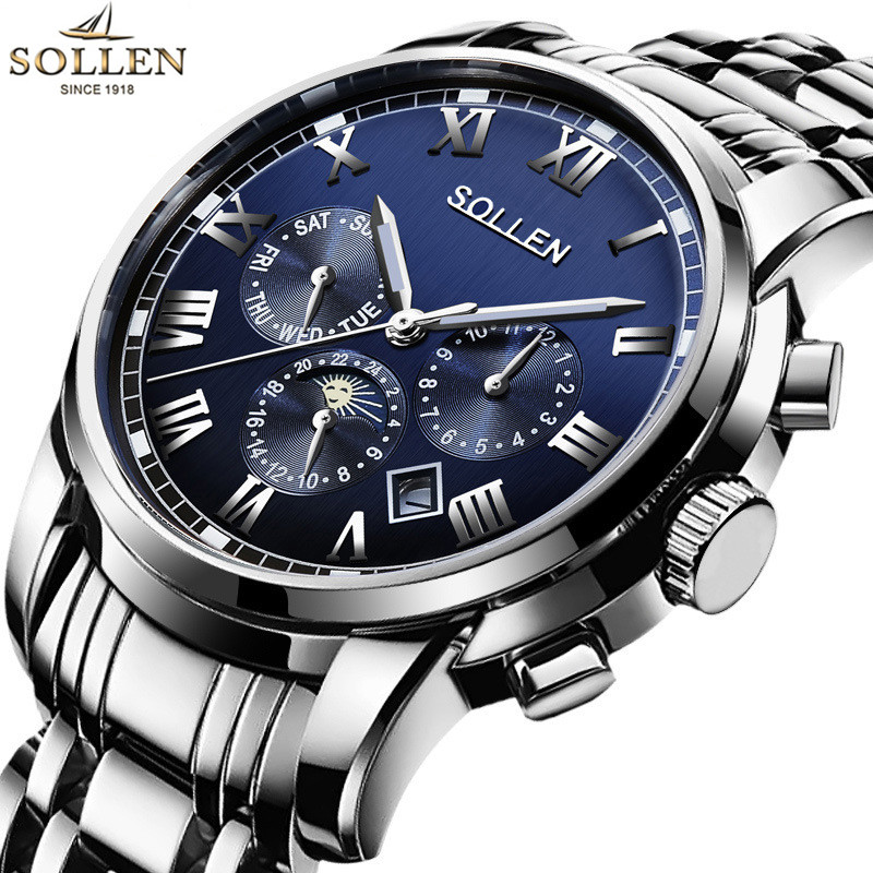 где купить 2017 SOLLEN Auto Date Men Mechanical Watches Luxury Top Brand Full Steel Business Moon Phase Automatic Wristwatches Mens Watch по лучшей цене