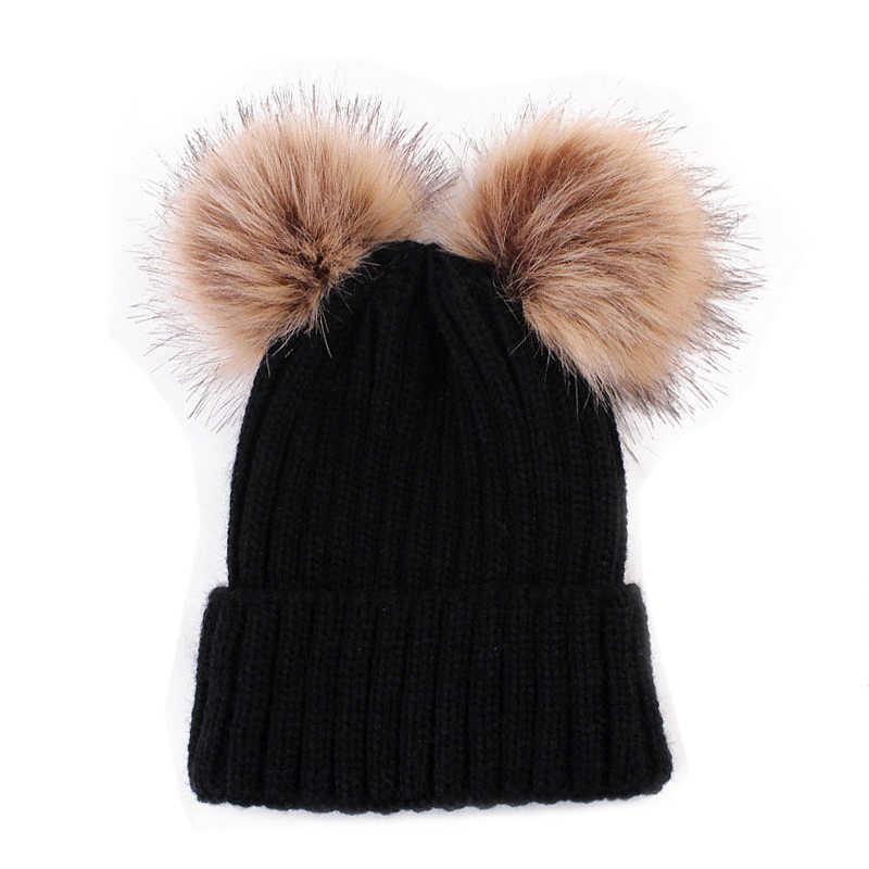 025805a5b Two Pompoms Fur Knitted Winter Hats For Women Pom Poms Faux Fur Beanie Hat  Female Girls Cute Wool Warm Caps Gorro Bonnet Femme