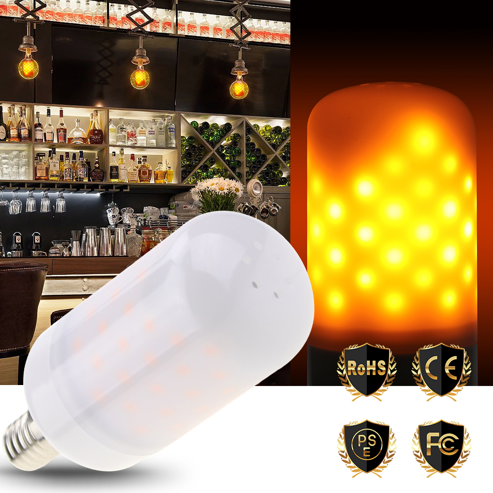 E14 LED Flame lamp 220V E27 LED Flame Effect Light E26 2835 SMD 3W 110V Fire Bulb 63leds Creative Night Light Festival Essential