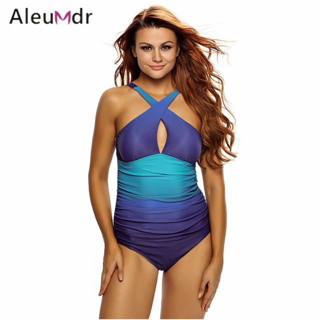 d38da71d770c Aleumdr Plus Size Swimwear Women 2018 Wavy Gradient Printed Halter One  Piece Swimsuit High Cut LC410057 Costumi Da Bagno Donna