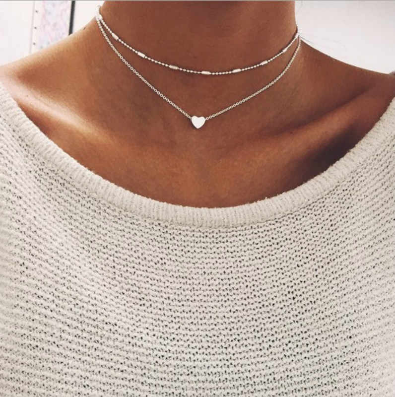 Fashion summer fashion jewelry peach heart multi - layer necklace tassel pendant necklace