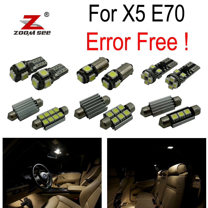 цена на 21pc X 100% canbus No Error LED interior lamp dome map overhead trunk door foot Light Kit package for BMW X5 E70 (2007-2013)