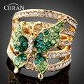 Chran Borboleta Verde Esmeralda Cristais Austríacos Imitação Anel de Diamante Moda Jóias para As Mulheres Frete Grátis (Dragão DFDR0013