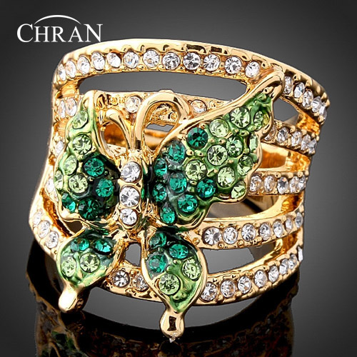 Chran Green Butterfly Austrian Crystals Gold color Fashion Ring Jewelry Accessories for Women Free Shipping DFDR0013