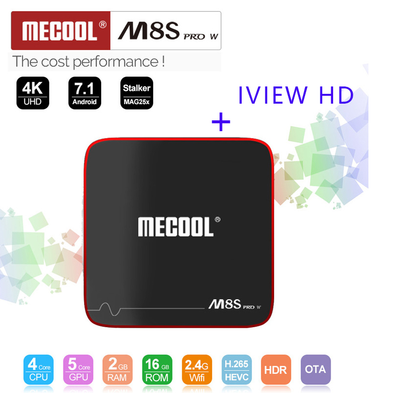 2018 Newest Mecool M8S PRO W Android 7.1 TV Box Europe IPTV Box with 1 year IVIEW HD Package watch UK Greece Germany