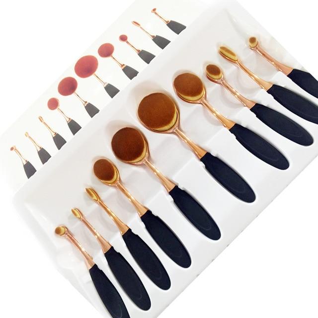 Розовое Золото 10 шт. Зубная Щетка Форма Овальная Makeup Brush Set МНОГОЦЕЛЕВОЙ Профессиональный Пудра Кисти для макияжа с Мешком