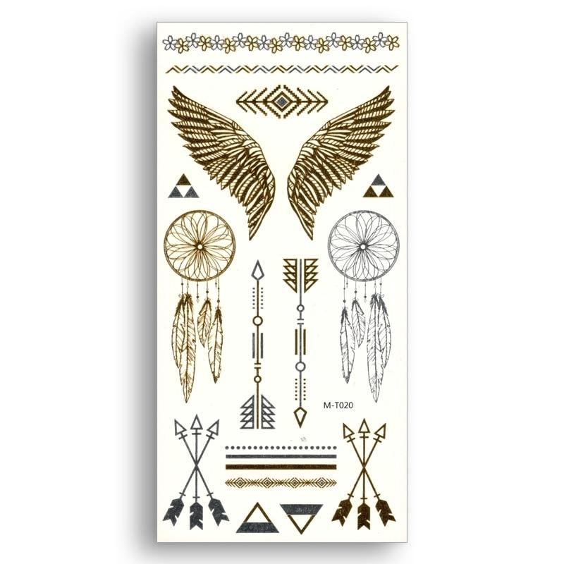 Temporary Fake Gold tattoos Waterproof Water Transfer Stickers Angel wings arrow Dreamcatcher Women Beauty Sexy Body Art
