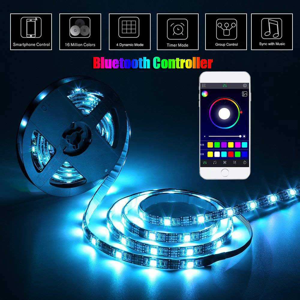 USB Cabinet Lamp RGB LED Light Strip lampy Backlight TV PC Lighting Music/RF/Bluetooth Controller DC5V SMD 5050 LED Lamp lampada