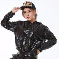 Модная женская куртка-бомбер на весну и осень, индивидуальная одежда для сцены, черная танцевальная куртка в стиле хип-хоп с блестками
