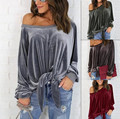 Fashion New 2017 Spring Tops Gray Green Red Casual Sexy Loose Long Sleeve bow-knot Women Tops Off Shoulder Bandage Sweatshirts