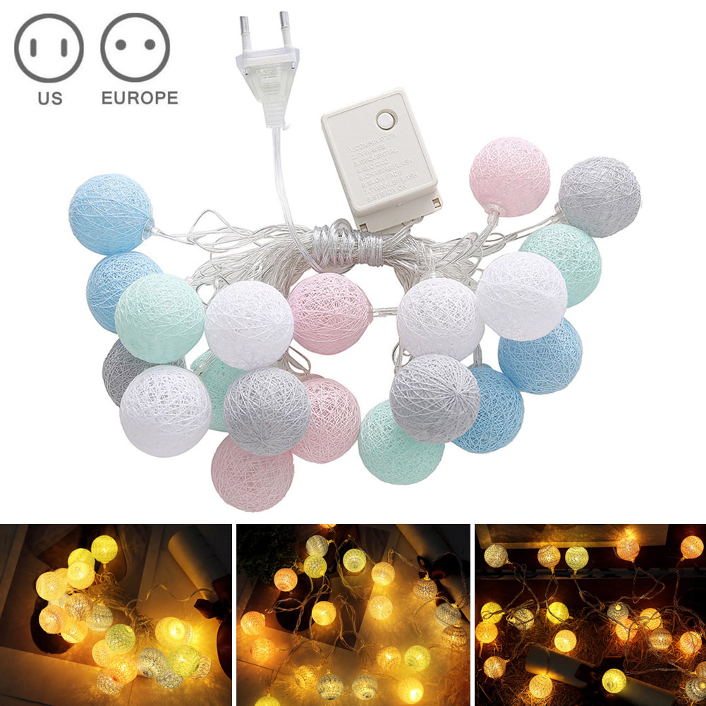 3.55m 20 LEDs String Lights Cotton Thread Balls Home Decoration Lamp For Party Wedding US/EU Plug TN88