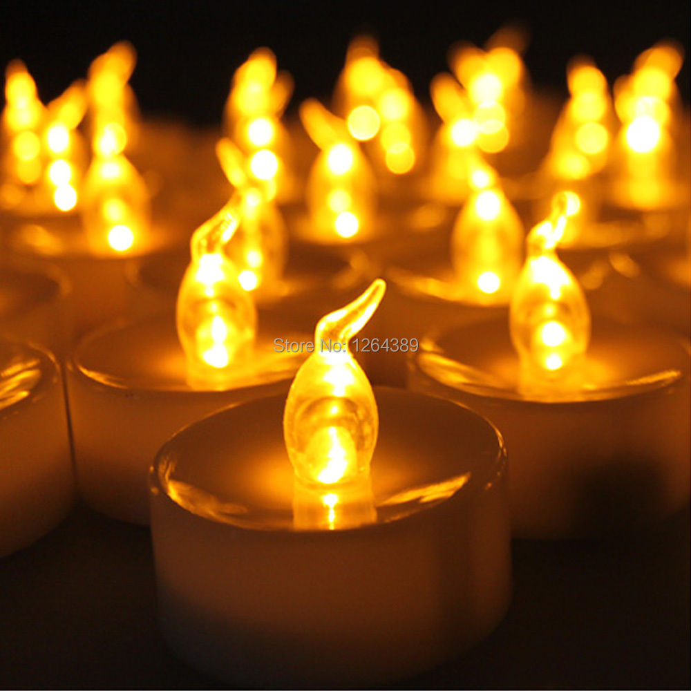 100 pcs 크리스마스 flameless led 앰버 노란색 배터리 차 빛 tealight 차 촛불 파티 웨딩 촛불-에서양초부터 홈 & 가든 의  그룹 1