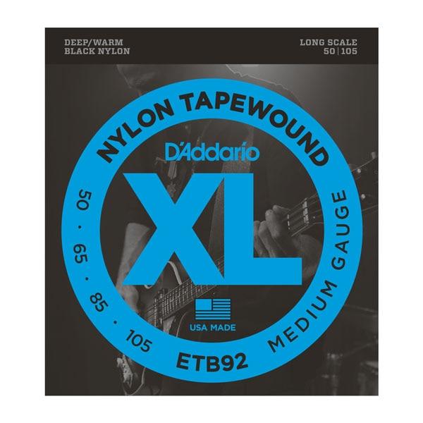 ФОТО D'addario Black Nylon Tapewound Bass Strings, Medium, 50-105, Long Scale, ETB92