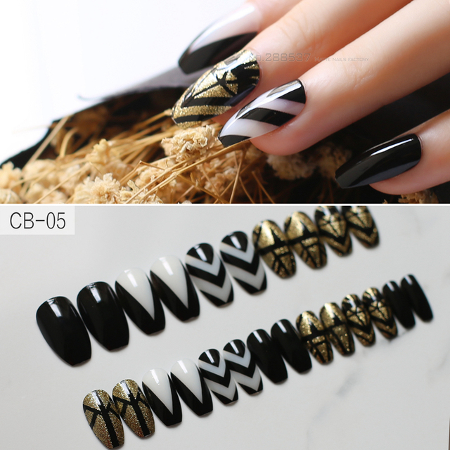 Art Deco Design Coffin Nail 24pcs Full Sets Fake Nails Black Gold