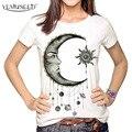 Mulheres Moda Hipster YEMUSEED Sol e Da Lua Dos Desenhos Animados Impresso Tops Tumblr Harajuku Lápis Desenho 3D T shirt T-shirt Plus Size XL