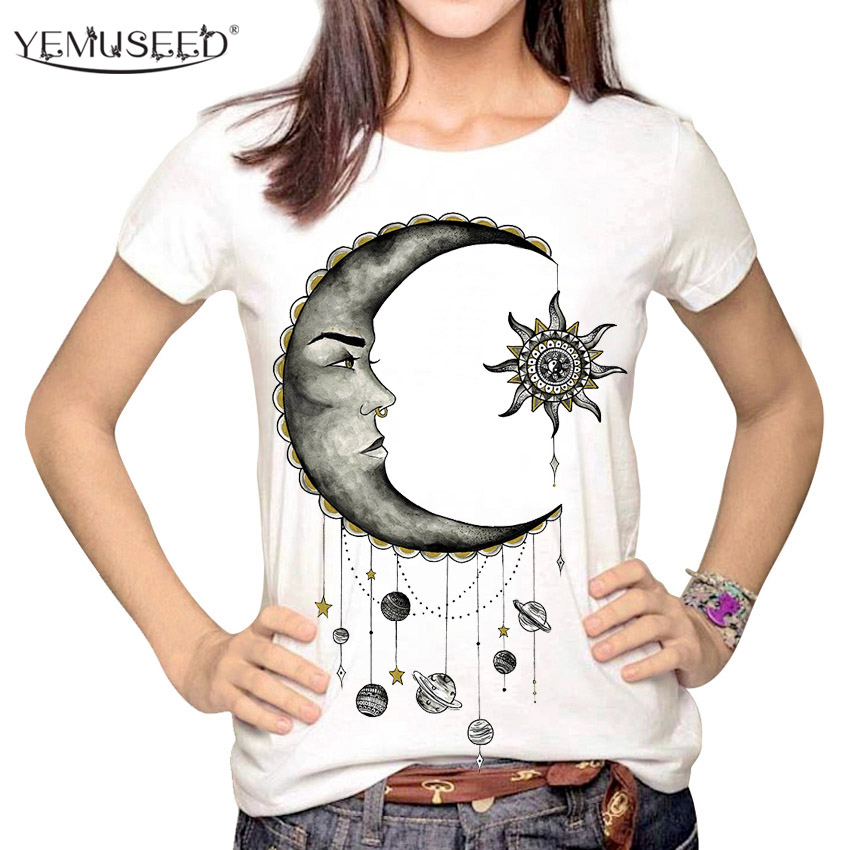 Yemuseed Women Fashion Hipster Sun And Moon Cartoon -2006