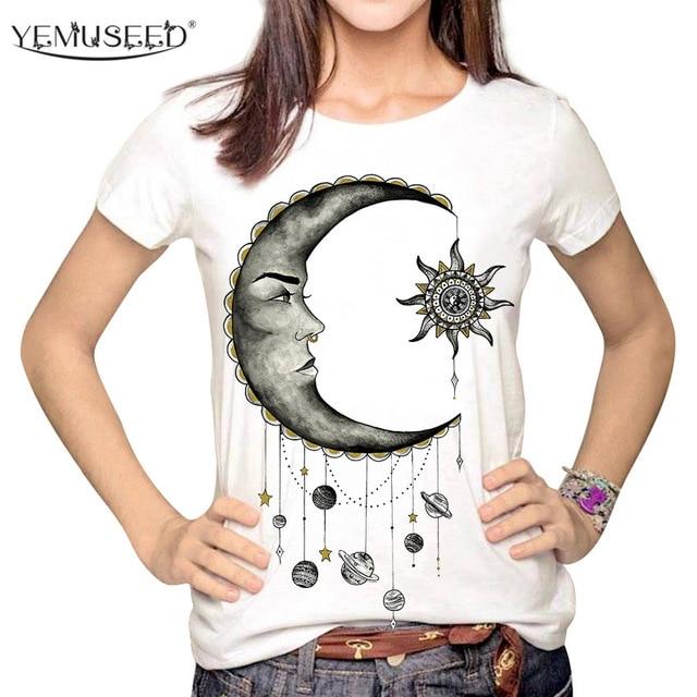 YEMUSEED mujeres moda Hipster sol y luna dibujos animados impreso Tops  Tumblr Harajuku lápiz dibujo 3D 936c5d45b1d0e